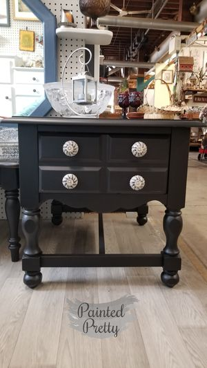 Black end table with decorative drawer pulls for Sale in Williamsport, PA
