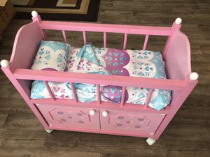 Baby Doll Crib Cradle Cabinet Girls Toys Pretend Play for Sale in Santa Ana, CA