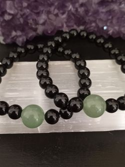 Brand New, Couple's Bracelets. Green Aventurine Stone And Black Onyx. Gift Bag Included. 2 For $35. for Sale in Rancho Cucamonga,  CA