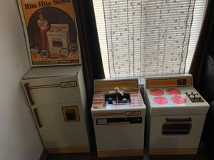Kids 1980s steel kitchen fridge,sink,and stove for Sale in Squaw Valley, CA