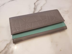 Women's leather slim wallet teal/grey for Sale in New York, NY