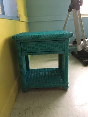 Turquoise blue wicker table small for Sale in Frostproof, FL