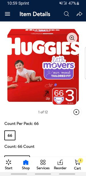 Huggies little movers size 3 66 count for Sale in Perris, CA