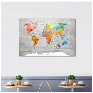 Abstract Colorful World Map Canvas Painting Print Modern Watercolor Art for Living Room Wall Decor for Sale in Tampa, FL