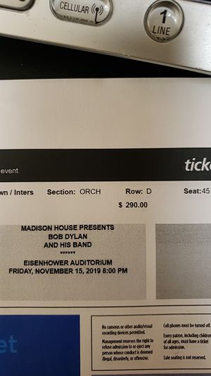 Concert Tickets Bob Dylan - Penn State for Sale in Lititz, PA