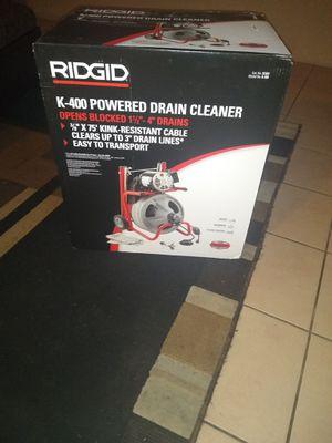 Ridgid k400 powered drain cleaner for Sale in Phoenix, AZ