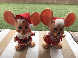 Vintage Big Ear Mice Christmas Plastic Coin Banks for Sale in Tucson, AZ