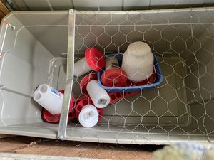 Homemade chick chicken pen. Heat lamp water and feeders containers for Sale in Roy, WA
