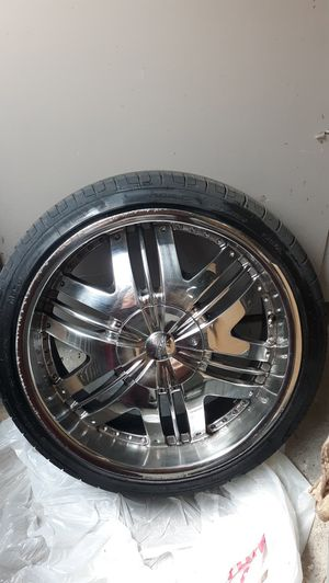 "20"" chrome rims with tires for Sale in Hermitage, TN"