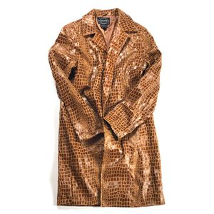 TAN FAUX LEATHER ANIMAL PRINT TRENCH COAT for Sale in Chicago, IL
