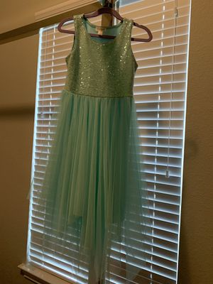 Girl's dressy dress in teal with sequins design. Size Small. Worn once for wedding. for Sale in Spicewood, TX