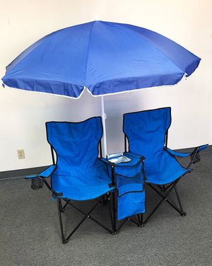 Brand new $35 Portable Folding Picnic Double Chair w/ Umbrella Table Cooler Beach Camping Chair for Sale in Downey, CA