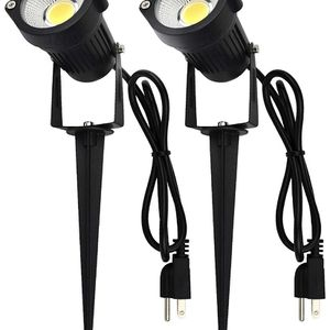 LIKE NEW Outdoor LED Spotlights 5W, 120V AC, 3000K Warm White, Outdoor Use, Metal Ground Stake, Flag Light, Outdoor Spotlight with Stake for Sale in Bloomfield, CT