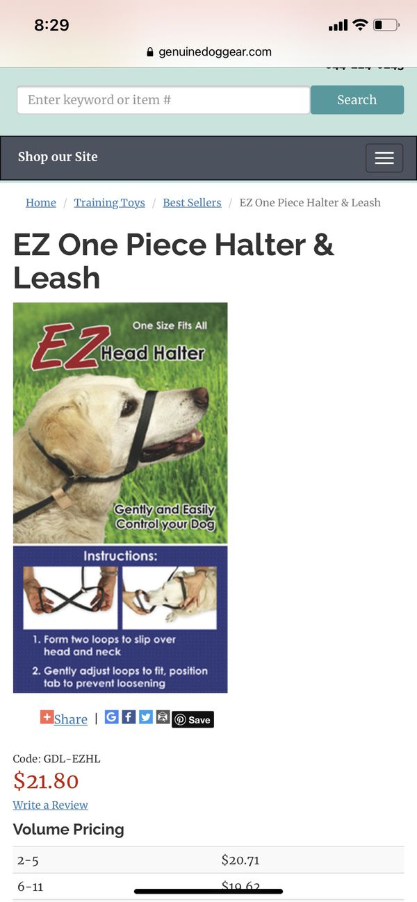 Head halter + leash combo ONE SIZE FITS ALL
