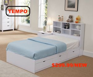 Twin Size 3-Drawer Storage Bed Frame with Bookcase Headboard, White for Sale in Fountain Valley, CA