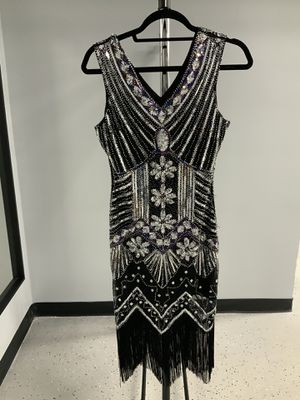Silver Flapper ( Size : Small ) Color : Black with silver sequin Myrna's Closet Wear FB#525 for Sale in Elk Grove Village, IL