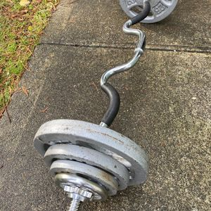 "Ez Curl Bar With Weights - Standard 1"" Weight Plates for Sale in Snohomish, WA"