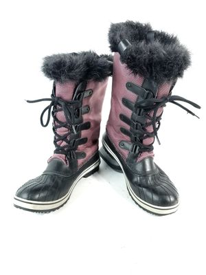 Sorel Women's Sz 12 Pink Black Tofino Canvas Tall Quilted Snow Waterproof Boots for Sale in Thornton, CO