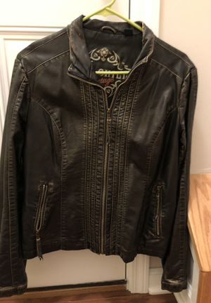 Not real leather but very nice size medium short jacket. Zips up the front and has two front pockets for Sale in Neptune City, NJ