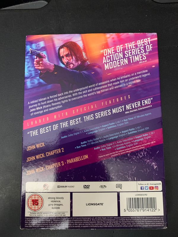 John Wick Trilogy (Chapters 1-3) (DVD) (Brand New)