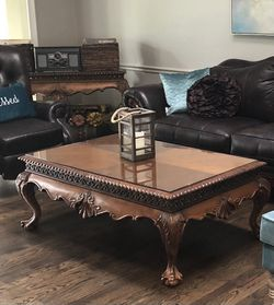 Rothman wood living room coffee table, end table & entry way table (3) with custom glass tops for Sale in St. Peters,  MO