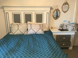Grey and white Solid wood bed frame and side table for Sale in Snohomish,  WA