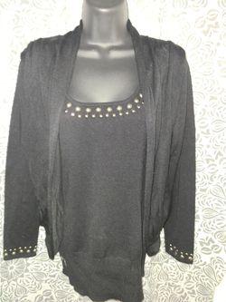 BellDini Two Piece Women Top M black Rhinestone Sweater Vest & Jacket Combo for Sale in Annandale,  VA
