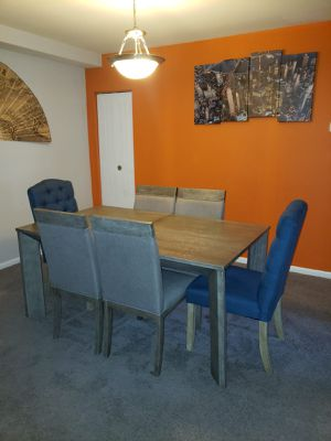 Adjustable dining table with 6 Chairs (2 blue and 4 Gray) for Sale in Baltimore, MD