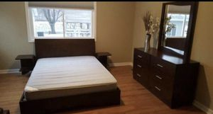 Queen size bed frame with two night stands ,dresser and mirror for Sale in Savage, MN