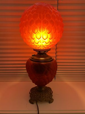 Antique red glass hurricane lamp with brass fittings for Sale in Boston, MA