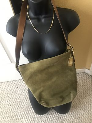 Coach army green suede hobo Crossbody bag $76 firm for Sale in Newark, CA