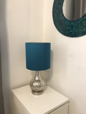 Glass table lamp teal blue and silver for Sale in Huntington Park, CA
