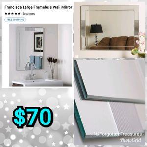 NEW Francisca Large Frameless Wall Mirror for Sale in Burlington, NJ