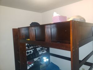 Beautiful oak BunkBed with interchangable bottom bed, storage and shelving. for Sale in Tacoma, WA