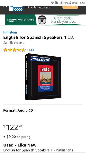 Pimsleur English for Spanish Speakers 1CD, Audiobook for Sale in Orlando, FL