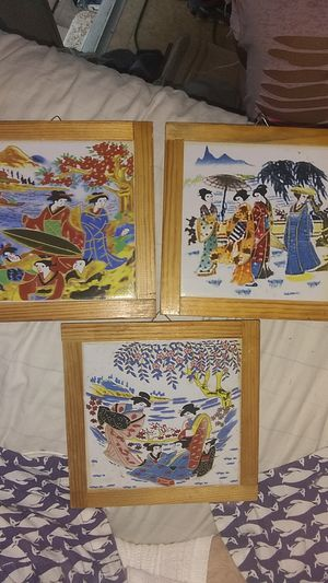 3pc 6x6 wood trimmed Japanese wall art for Sale in Marbury, AL
