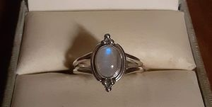92.5 Solid Sterling Silver Rainbow MoonStone Beaded Ladies Ring. for Sale in Pawtucket, RI