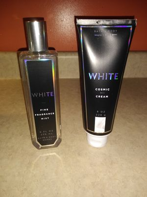 Bath & Body Works White Cosmic Body Cream & Fine Fragrance Mist BUNDLE 8 oz each for Sale in South Zanesville, OH