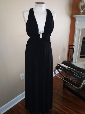 Dress, prom, evening, beautiful black dress, with silver rhinestone's snake detail. $70 for Sale in Eustis, FL