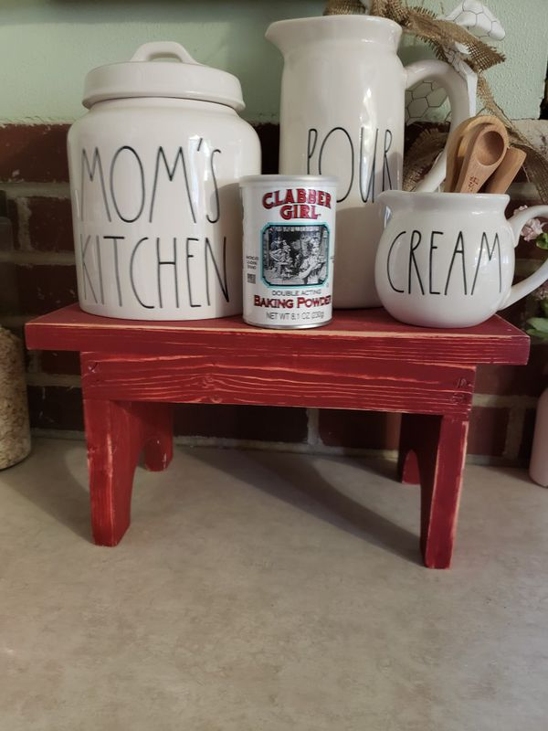 Small distressed red farmhouse stool