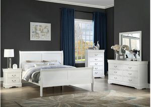 White queen 4pc sleigh bedroom set for Sale in Buena Park, CA