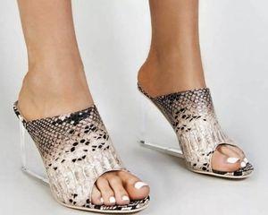 Snakeskin Clear High Heel Sandals Wedge Slide Mules Open Toe SZ 6 & 8 for Sale in Los Angeles, CA
