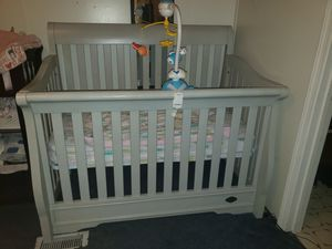 Beautiful baby bed very heavy and sturdy light grey for Sale in Holts Summit, MO