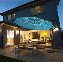 10FT Patio Offset Umbrella Solar Powered LED 360° Rotation Aluminum Turquoise for Sale in Silver Spring,  MD
