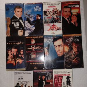 James Bond VHS lot of 11 ALL NEW SEALED no stickers, stored indoors, very rare! for Sale in Bolingbrook, IL