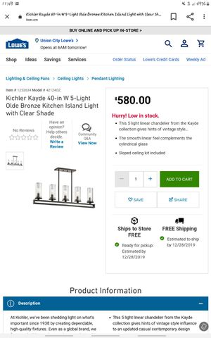 Kichler Kayde 40-in W 5-Light Olde Bronze Kitchen Island Light with Clear Shade for Sale in Stockton, CA