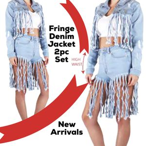 2pc Set Fringe ripped denim shorts for Sale in Dearborn, MI