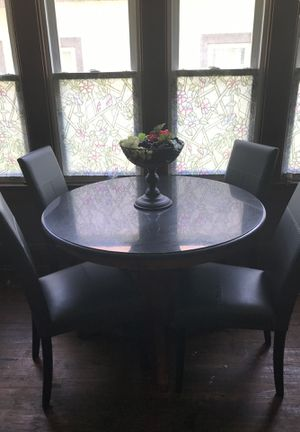 Marble and leather dining table for Sale in Milwaukee, WI