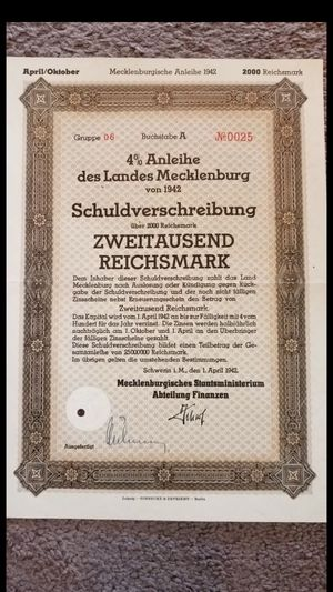 Ww2 German state loan bond certificate 3rd reich wwii for Sale in High Point, NC