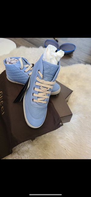 Gucci Women's Mineral Blue Leather Hi-Top Sneakers for Sale in Hayward, CA